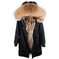 XLong tarzı Kadın kar palto Maomaokong marka kahverengi tavşan kürk çizgili siyah X-Uzun parka ile kahverengi tilki kürk trim hoody