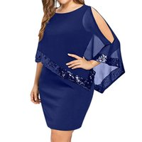 Lortalen Women Dress Mesh Paillettes Patchwork Irregolare Manica Cappa Dress Women Solid Abiti da festa casual Plus Size 5xl Y19052703