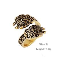 Partihandel Hotsale Viking Bear Claw Wolf Paw Open Ring Celtic Knot Trinity Punk Rock Smycken för män Gratis frakt
