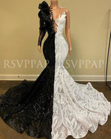 Black and White Mermaid Long Prom Dress 2020 New Arrival Sparkly Sequin One Long Sleeve African Girl evening Dresses