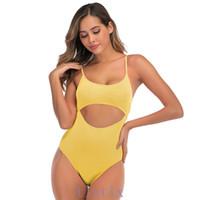 ملابس السباحة قطعة واحدة بلون مثير 2020 جديدة للنساء ملابس السباحة مفتوحة الظهر قطعة واحدة ملابس السباحة بيكيني