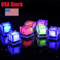 미국의 재고 RGB 플래시 아이스 큐브 클럽 웨딩 파티를위한 플래시 액체 센서 물 잠수정 LED 바 라이트 업 조명 큐브 조명을 주도