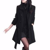 أزياء المرأة خندق معطف الصوف معطف الشتاء ضئيلة المعاطف مزدوجة الصدر مع كم طويل قميص للإناث بالجملة