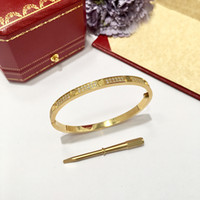 Роскошный полный кристалл титана сталь серебро розовое золото любовь браслет мода женщины мужская подпись отвертка тонкая манжета браслеты браслеты ювелирные изделия