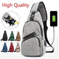 Men Chest Bag USB Charging Messenger Bosom Bags Casual Trave...