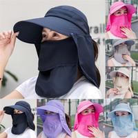 2020 여름 여성 태양 모자 낚시 모자 야외 캡 하이킹 모자 캠핑 챙 모자 보호 얼굴 목 커버 썬 UV는 모자 보호