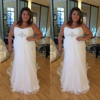 2020 Plus Size Wedding Dress Querida Chiffon Um casamento linha de vestidos de Handmade Lace-up Beads nupcial Vestidos Custom Made