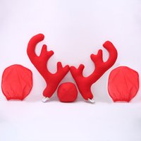 Mirrow Dropshipping Kapaklar 2 Antlers 1 ren geyiği Burun 2 İle Yeni Tasarım Yaratıcı Noel Oto Araç Kostüm Dekorasyon Tam Set