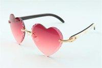 Direktvertrieb neue herzförmige Schneid Linse Sonnenbrille 8300687, naturweiß schwarz Hybrid Büffelhorn Tempel Größe: 58-18-140 mm