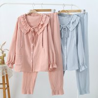 [EWQ] Crepe Double- layer Collar Long- sleeved Single- breasted...