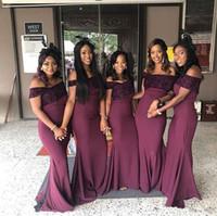 Nuovi abiti da damigella d'onore in stile sudafricano fuori dalla spalla sirena in stile rustico cameriera d'onore abiti da sposa abiti da sposa su misura