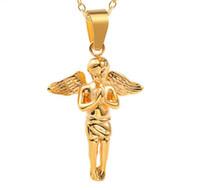 Hip Hop Acero inoxidable Gold Alas de plata Angel Collar Colgante Titanio Acero Declaración Gargantilla Collar Joyería para Hombres Accesorios Artesanía