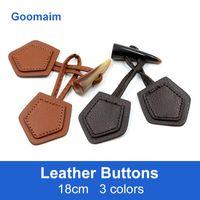 50pcs / lot 18 cm botones de cuero color natural larga de la manera de los pantalones vaqueros de costura nudo botones del abrigo rana china en el botón de la bocina 3 colols