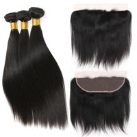 Brazilian Straight Hair Bundles With Frontal Closure Human H...
