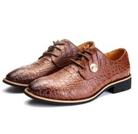 Бренд классический натуральная кожа мужчины Крокодил шаблон Оксфорд зашнуровать свадьба человек коричневый платье обувь роскошный дизайн