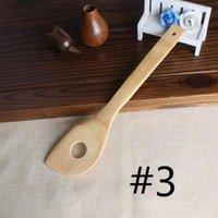 Bamboo ложка шпатель 6 Стили Портативный деревянный Utensil Кухня Приготовление Токари шлицевая Смешивание держатель Лопаты EEA1395-4