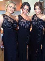 2020 elegante uno hombro vestido de dama de honor barato Split Barato Split Plus Tamaño de noche Apliques de encaje Longitud del piso Vestido de invitado BV012