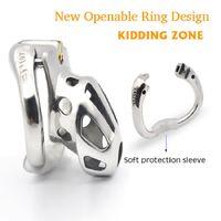 Casto Pássaro CAÇOAR ZONA 2,020 Novo Metal Openable anel de design de Male Chastity Dispositivo Penis Anel orifício de ventilação de pica gaiola Sex Toys