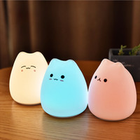 Topoch Silicone Touch Sensor LED Night Lamp Desk decorativa Luz AAA Sonho Powered Dream Cute Cat 7 Cores 2 Modos Nightlight para bebê