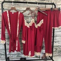 2019 Casa Ropa pijamas sueño satén de las mujeres ropa de dormir de 5 Piezas pijamas del cordón atractivo Salón Pijama de seda pijama traje de noche