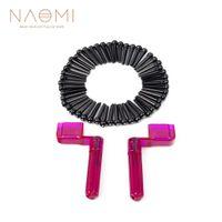 NAOMI 50PCS 어쿠스틱 기타 핀 + 2PCS 기타 String Winder Pegs Bridge Pins 퍼플 + 블랙 기타 부품 액세서리 New