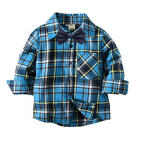 Everweekend Cute Boys Plaid blu Bow Shirts Tees Candy Colore Western Fashion Vintage primavera autunno bambini camicetta Top