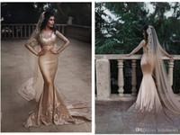 Sirena Dos piezas de manga larga Muslim Champagne Vestidos de novia Nigeria con velo largo Sexy Lace Applique ABITI DA SPOSA Vestido nupcial H060