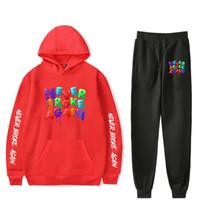Youngboy Jamais Encore à 2 Piece Set Survêtement Hommes Streetwear Hip Hop Sweat à capuche Outfit Vêtements de sport Homme Drawstring Costume