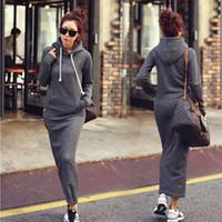 La manera caliente de la caída del otoño invierno de las mujeres Negro gris del suéter vestido de esquilado sudaderas con capucha Manga larga delgada Maxi vestidos S M L XL XXL Winter Dress M176