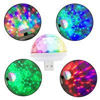 LED Efektler Disko Elfin Ses Kontrolü Kendinden Propelli Mini Sahne Işık Kristal Sihirli Topu USB Renkli Gece Lambası Müzik Ampul