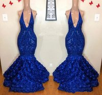 Royal Blue Mermaid Prom Dresses Sexy African Plunging Neck S...