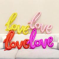 Aşk Mektuplar Helyum Balon Büyük Boy Alüminyum Folyo Balonlar Düğün Parti Dekorasyon Malzemeleri Karışık Renkler