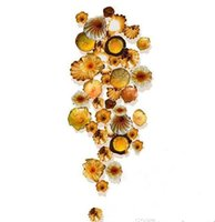 Murano design en verre soufflé Ambre mur Plaques Personnalisées Fleur Décoration murale Art Lampes pour Hôtel Lobby Bar Party