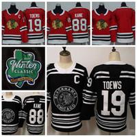 2019 Winter Classic Youth Chicago Blackhawks 19 Jonathan Toews 88 Patrick Kane Kids Hockey Jerseys Winter Classic Black Stitched Shirts