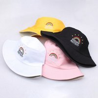 Printed Rainbow Bucket Hat Women Fisherman Caps Panama Cotto...