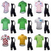 투어 드 프랑스 팀 사이클링 짧은 소매 유니폼 (BIB) 반바지는 남성용 통기성 빠른 건조한 자전거 스포츠웨어를 세트 C627-99