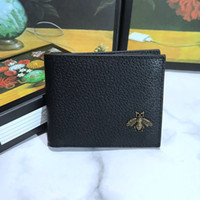 New 2019 Famous Fashion Brand Men'S Short Leather Purse Decorated With Chic Metal Bee Detail Wallets Purse With Box