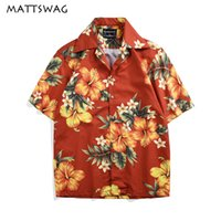 Мужские повседневные рубашки Mattswag Tropical Hawaiian для мужчин цветочные старинные летние кнопки с короткими рукавом Aloha Beach Mens рубашка