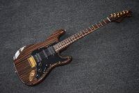 مصنع مخصص زيبرا الخشب الغيتار الكهربائي مع pickguard الأسود ، التقاطات hsh ، زيبرا الخشب وحة الفريتس ، الاجهزه الذهب ، يمكن تخصيصها