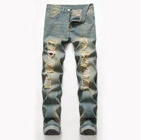 Tamaño grande para hombre Clásico Pierna recta Pantalones vaqueros rasgados Diseñador de moda Slim Fit Washed Solid Hole Biker Hip Hop Pantalones de mezclilla retro azul JB2