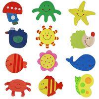 12pcs / lot dolabı Mıknatıslar Çıkartma Renkli Ahşap Hayvan Karikatür Buzdolabı Çıkartma Ahşap Karikatür Buzdolabı Mıknatıslar VT0116