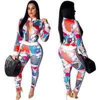 Stylish Printed Casual 2 Piece Outfits Spring Front Zip Long...