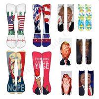 Donald Trump divertido de la Navidad Calcetines de impresión en 3D de la rodilla calcetines altos Trump Terry Elección General de 40cm de largo medio Stocking Hip Hop Calcetines A110803