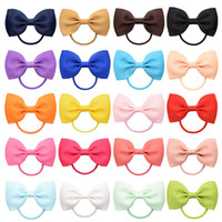 2. 75 Inch Baby Bow Hairbands Kids 20 Color Solid Hair Ring K...