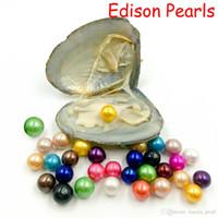 2020 Yeni Dev 9-12mm Renkli Edison Büyük Büyük Dev Yuvarlak Sınıf Doğal Inciler Doğal Inciler Oyster Vakum Ambalaj Ile DIY Mücevherat