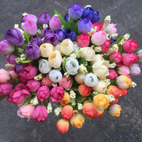 화려한 실크 꽃 인공 꽃 웨딩 작은 장미 꽃다발 장식 15 개 헤드 미니 로즈 홈 인테리어