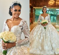 Sparkly Sequined Sheer Long Sleeves Ball Gown Wedding Dress ...