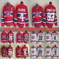MES Montreal Canadiens Versione vintage Jerseys 4 Beliveau 29 Dryden 5 Geoffrion 9 Richard 10 Lafleur 93 Stanley Cup 77 Turgeon CCM Hockey Je
