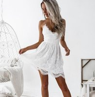 زلة الصيف النساء اللباس الحلو أزياء الرباط الرافعة الأبيض مثير عارية الذراعين شاطئ البسيطة فساتين للسيدة