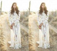 로맨틱 Zuhair Murad 2020 Boho 웨딩 드레스 긴 소매 쥬얼리 레이스 스윕 플러스 사이즈 봄 신부 웨딩 드레스